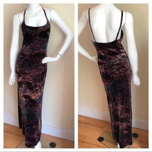Betsey Johnson 90s crusted velvet maxi dress